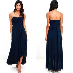 Lulus First Bliss Navy Strapless High-Low Dress